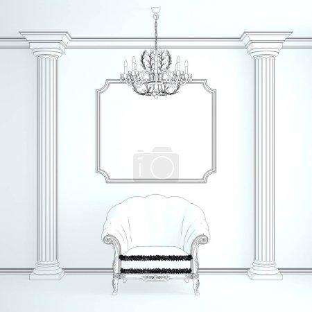 Photo pour Intérieur classique avec un fauteuil (rendu 3d ) - image libre de droit