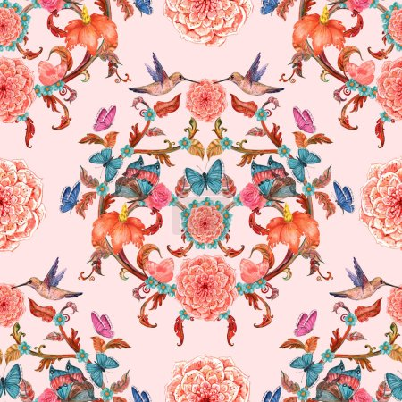 royal vintage seamless texture with fancy foliage pattern and birds with butterflies