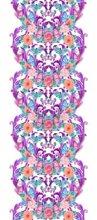Photo for Quaint border with fancy floral hearts - Royalty Free Image