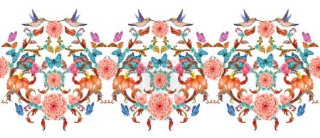 elegant border with fancy floral arabesques and hummingbirds. watercolor painting