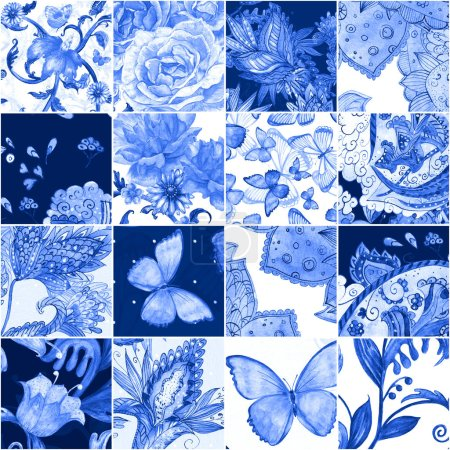 fashion seamless texture with blue floral patchwork pattern. watercolor painting