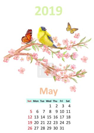 Romantic floral May 2019 calendar with bird sitting on blossomed branch