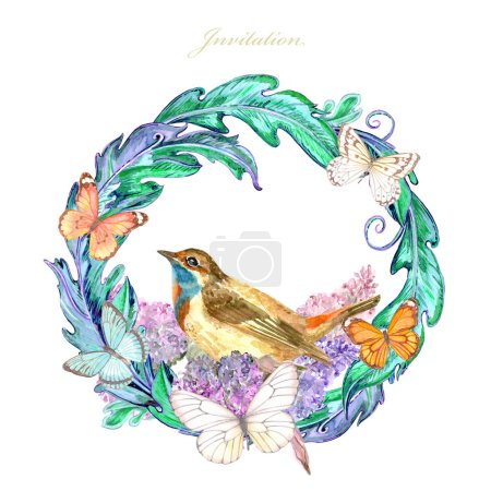 Photo pour Vignette florale fantaisie avec de beaux oiseaux et papillons. aquarelle peinture - image libre de droit