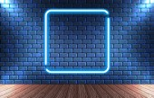 Neon frame on brick wall for decoration signboard in retro inter