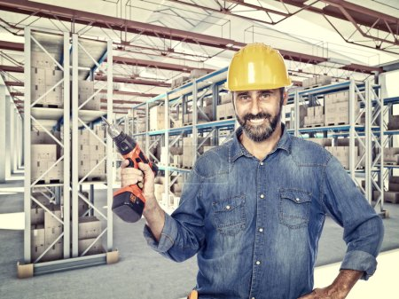 handyman at work in classic warehouse