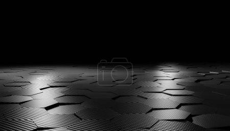 Photo pour Image de rendu 3d de fond en fibre de carbone hexagonal - image libre de droit