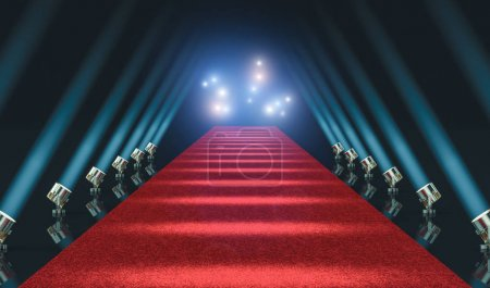 Photo for Red carpet and lights 3d rendering image - Royalty Free Image