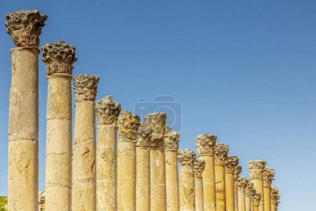 Photo for Amman, Jordan. detail of Roman columns inside the citadel, known archaeological site of tourism destination. - Royalty Free Image