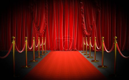 Photo for Red carpet and gold barriers with red rope and large curtains at the entrance. concept of luxury and exclusivity. 3d image render - Royalty Free Image