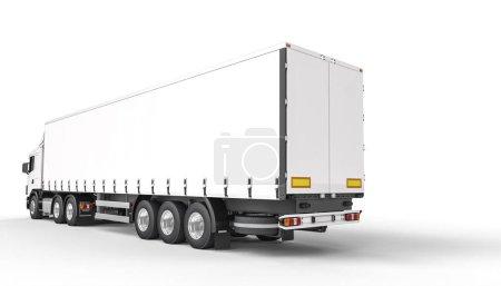 Photo pour Vue arrière d'un long camion blanc. l'espace de copie. Personne par ici. 3d rendu. - image libre de droit