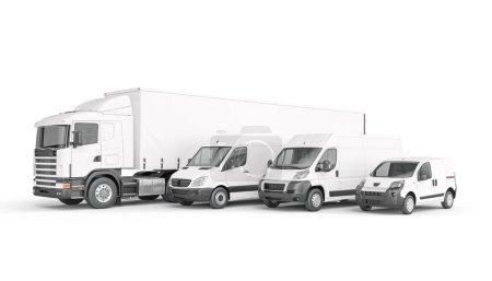 Photo pour Moyens de transport marchandises de couleur blanche. concept de logistique d'expédition et de fret. 3d rendu. - image libre de droit