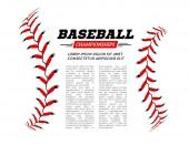 Baseball ball text frame on white background Vector illustration