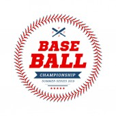 Baseball ball text frame on white background