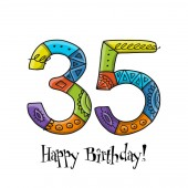 35th anniversary celebration Greeting card template