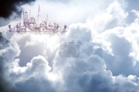 Photo for A fabulous lost city in beautiful sky with stormy cumulonimbus. White clouds and sunlight - Royalty Free Image