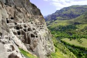 Famous touristic attraction - Vardzia cave monastery and ancient city in mountain rocks, Georgia. UNESCO world heritage site