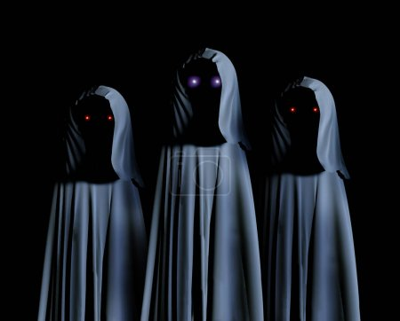 Three spooky monsters in hooded cloaks with glowing eyes. On black background. 3d rende