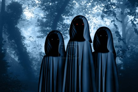 Three spooky monsters in hooded cloaks with glowing eyes in misty forest landscape. Photo toned in blue color