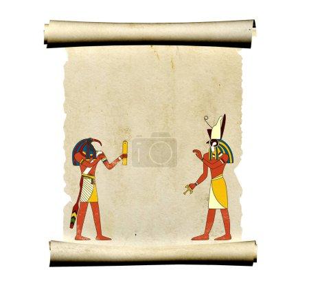 Photo pour Vieux parchemin avec des images des dieux égyptiens Toth et Horus. Modèle maquillé. Espace de copie pour le texte. Isolé sur fond blanc. 3d rendu - image libre de droit