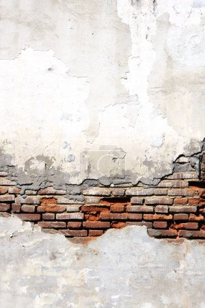 Photo for Grunge background with texture of old brick wall and cracked stucco of white color - Royalty Free Image