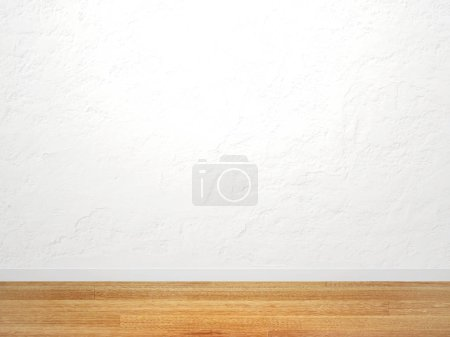 Photo for Empty stucco wall of white color and new parquet floor. Mock up template. 3d render - Royalty Free Image