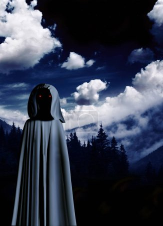 Spooky monster in hooded cloak with glowing eyes i...