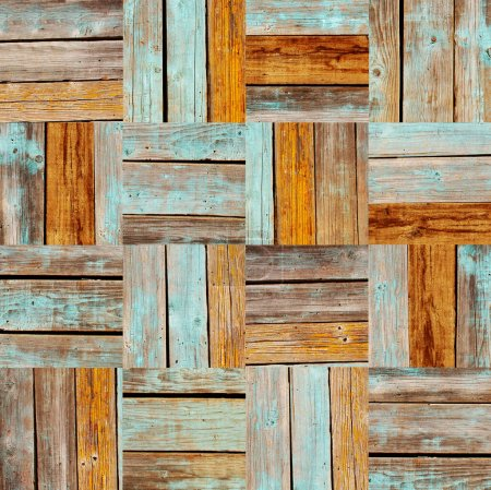 Photo pour Texture sans couture du sol en bois avec des éléments carrés. Texture de vieilles planches de bois de couleur marron et de planches peintes en bleu. Texture sans fin peut être utilisé pour le papier peint, remplissage de motifs, textures de surface - image libre de droit