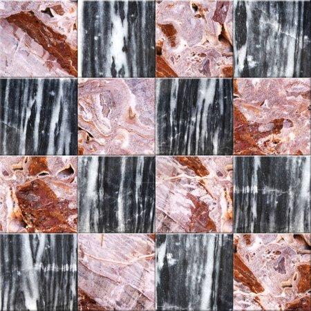 Photo pour Texture sans couture des carreaux de marbre au sol avec des carreaux de couleurs rouge, noir et blanc. Texture sans fin peut être utilisé pour le papier peint, remplissage de motifs, fond de page Web, textures de surface - image libre de droit