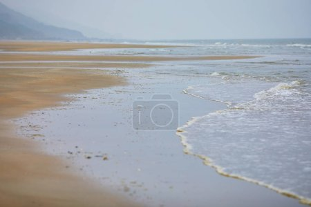 Sand beach at low tide in Lower Normandy, France