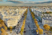 Aerial panoramic cityscape view of Paris, France on a fall day