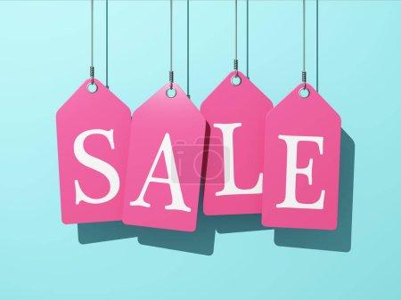 Colorful sale tags hanging on blue background. 3D illustration.