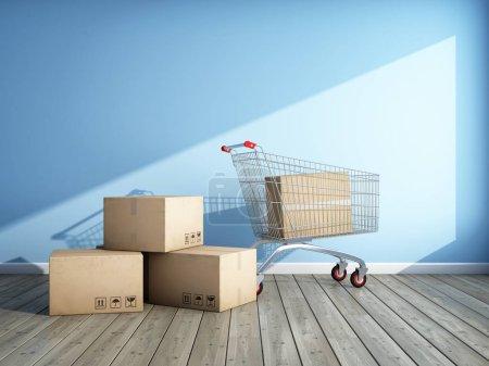 Photo pour Shopping pour une nouvelle chambre. Boîtes en carton et chariot. Illustration 3D . - image libre de droit
