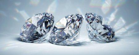 Photo pour Diamants en lumière vive sur fond bleu. Illustration 3D . - image libre de droit