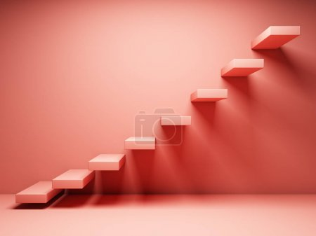 Photo for Abstract stairs in interior in coral tone. 3D illustration. - Royalty Free Image