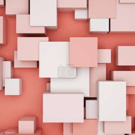 Photo pour Fond abstrait avec des cubes dans des tons corail et vue de dessus. Illustration 3D . - image libre de droit
