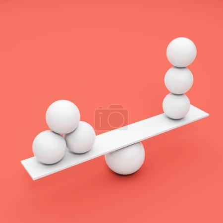 Photo pour Balancement boule blanche sur fond corail. Illustration 3D . - image libre de droit