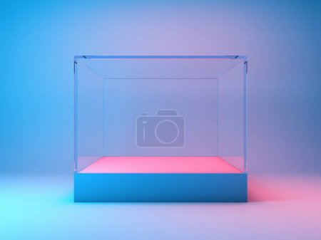 Photo for Empty glass showcase for product in neon lighting. 3D illustration. - Royalty Free Image