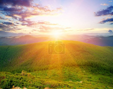 Photo for Mountain landscape with the sun - Royalty Free Image