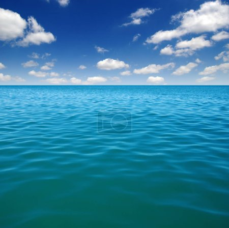 Photo for Blue sea water surface on sky - Royalty Free Image