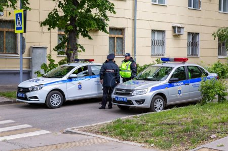 Samara, Russia - June 2, 2018: Russian police patrol cars of the State Automobile Inspectorate on the city street in summer day
