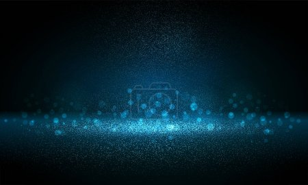 Illustration for Luxury blue gold glitter particles on black background. Blue glowing lights magic effects. Glow sparkles, vector illustration. Glitz dust - Royalty Free Image