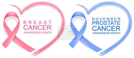 Illustration for National breast cancer awareness month. Poster pink ribbon, text and heart shape. November prostate cancer awareness blue ribbon and heart symbol. Isolated on white vector illustration - Royalty Free Image