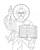 Icon with the face of Jesus in the art deco style Vector illustration