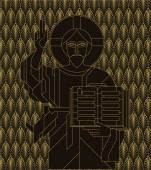 Icon with the Golden face of Jesus in the art deco style Vector illustration