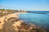 Lanzarote, Spain - December 03, 2018: Panoramic view of Playa Blanca, Beautiful landscape of Lanzarote Island, Canaries