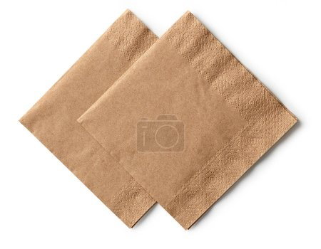 Photo for Two brown paper napkins isolated on white background, top view - Royalty Free Image