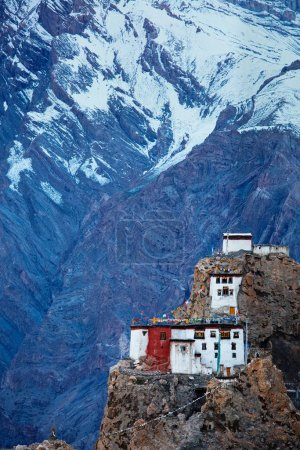 Photo for Dhankar monastry on a cliff. Spiti Valley, Himachal Pradesh, India - Royalty Free Image