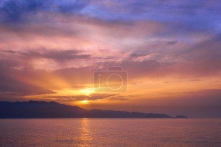 Photo for Sea sunset with dramatic sky seascape. Crete island, Greece - Royalty Free Image
