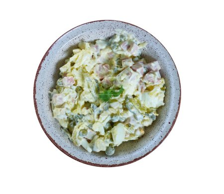 Photo for Ruska salata, Bulgarian Olivier salad, national  cuisine, Traditional assorted Balkans dishes, Top view. - Royalty Free Image