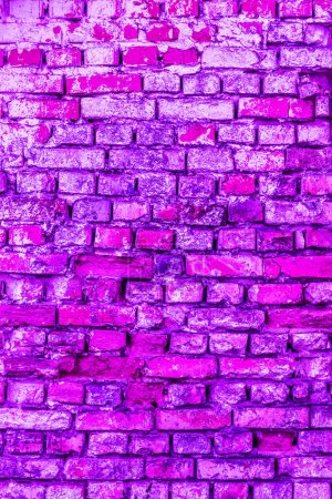 Photo for Pink and purple brick wall background. Architecture facade texture. House interior background - Royalty Free Image